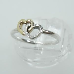 Authentic PANDORA Heart to Heart Gold Silver Ring